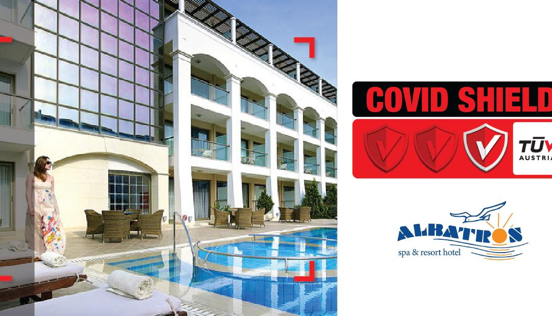 """Το ξενοδοχείο Albatros Spa Resort Hotel πιστοποιήθηκε με το Ιδιωτικό Πρωτόκολλο CoVid Shield, με το επίπεδο """"Principal"""""""